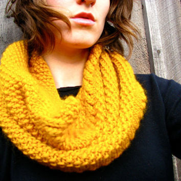 Chunky Cowl Infinity Scarf Mustard Golden Yellow by GretaHoneycutt