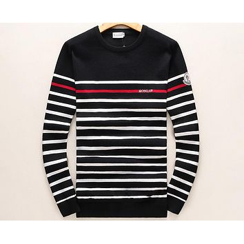 MONCLER autumn and winter round neck pullover striped long sleeve sweater F-A00FS-GJ black