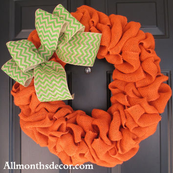 Orange Burlap Wreath with Lime Green Chevron Burlap Bow, Pumpkin Themed, Spring Easter, St. Patrick's Day, Pumpkin Color, Fall Autumn Door