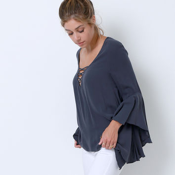 Believe In You Blouse - Charcoal