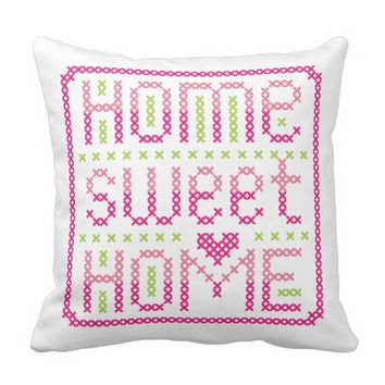 Elegant Home Sweet Home Simple Cross Stitch Pillow