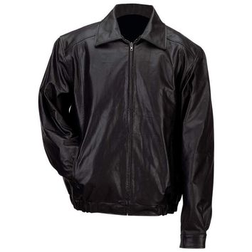 Mens Solid Genuine Leather Bomber-Style Jacket