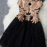 Graceful Embroidered Pierced Floral Sleeveless Party Dress&Dress