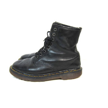 Doc Martens Combat Ankle Boots Black Leather Chunky Grunge 90s Dr Martens 8 Holes Lace Up Distressed Army Boots Women's SIZE