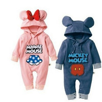 AAS015 New 2015 Baby Rompers baby boys girls newborn cartoon romper cotton long sleeve baby infant hoodie jumpsuits retail