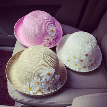 ONETOW Fashion Small daisy flowers beach fisherman sun protection casual travel white navy pink bucket hat cap women