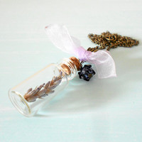 PURITY Woodland Glass Vial Necklace with Natural Lavender, Swarovski Crystal & Organza Bow in Antique Brass from Dryad Dreams