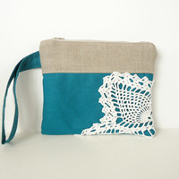 Teal Linen Burlap Vintage Doily Zipper Wristlet - Teal and Burlap Wedding - Blue Bridesmaid Gift