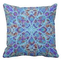 Boho-romantic colored mandala ornament arabesque throw pillow