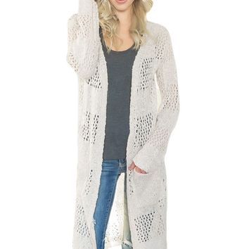 White Lightweight Knit Pocket Beach Coverup Cardigan