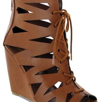 Mia Juna Caged Lace-Up Wedge Sandals