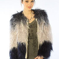 The Dip Dye Faux Fur Coat in Sapphire Stearling