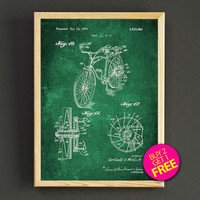 Bicycle Patent Print Bicycle Blueprint Poster House Wear Wall Art Decor Gift Linen Print - Buy 2 Get FREE - 294s2g
