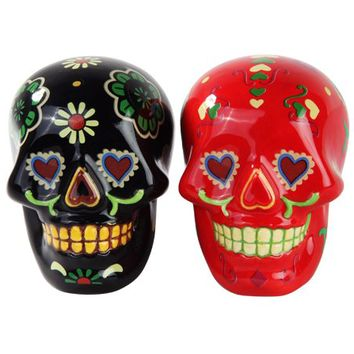 Day Of The Dead Salt & Pepper Shakers (Black/Red)
