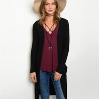Timing Women's Long Ribbed Duster Cardigan Black