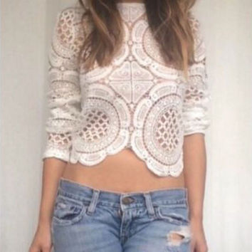 Crochet Sheer Lace Blouse