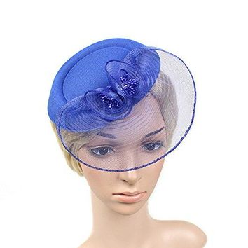 MEiySH Womens Vintage Flower Feather Mesh Net Fascinator Feather Pillbox Hat with Veil Hair Clip Party Wedding