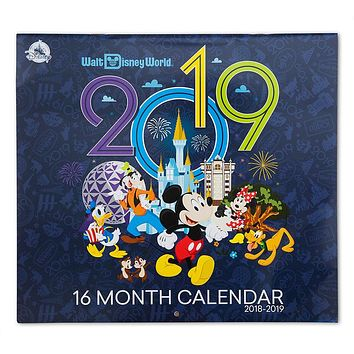 Disney Parks 2019 Walt Disney World 16 Month Wall Calendar New Sealed