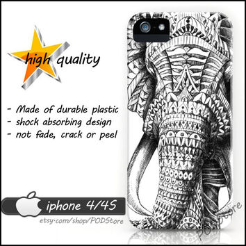 Ornate Elephant iphone 4 case Tribal Art case iphone4 Elephant casing Unique Rare