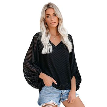 V-neck Texture Slouchy Pullover Sweater