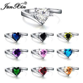 JUNXIN Luxury Female Ring Women Heart Ring White Gold Filled Jewelry Fashion Wedding Rings For Women Birth Stone Gifts