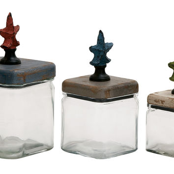 Simply Amazing Glass Wood Canister Set Of 3