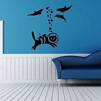 Wall Stickers Vinyl Decal For Bathroom Cat Underwater Animal Unique Gift ig1470