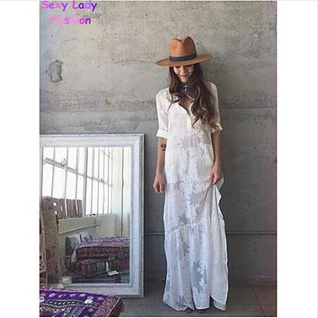 2016 Women BOHO Slit Side Lace White Chiffon Maxi Dress New Spring Summer Lapel Long Sleeve Beach Long Dresses blouse shirt