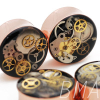 Rose Gold Junkyard Steampunk BMA Modified Plugs (8mm-32mm)