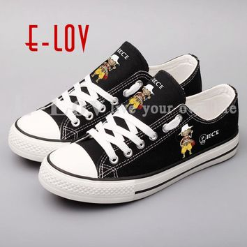 E-LOV Japanese Anime Canvas Shoes New Hand Painted Casual Shoes Custom Anime Printed Flat Shoes Gift