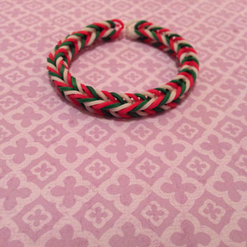 Red, Green, and White Rubber Band Bracelet - Rainbow Loom