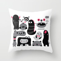 Monstruos Throw Pillow by Maria Jose Da Luz