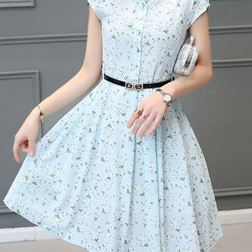 Casual Fancy Tiny Floral Printed Skater Dress