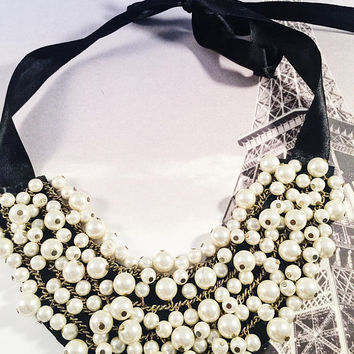 Hand Designed Bib Necklace, Ribbon Necklace, Pearls, Dangle Pearls, Statement Piece, OOAK, Adjustable