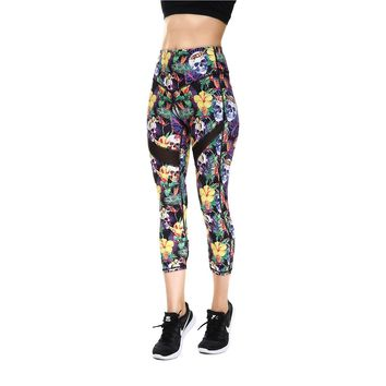 JIGERJOGER 2018 Spring Summer tropical palm leaf floral yellow skull print Cropped Capris Legging Yoga Shorts Pants Mesh patches
