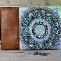 Zipped Macbook Sleeve Laptop Case: Brown Leather Blue Turquoise Green LIMITED EDITION