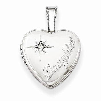 Sterling Silver & Diamond Daughter 12mm Heart Locket, Best Quality Free Gift Box Satisfaction Guaranteed
