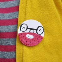 Happy Bearded Chap Hand Painted Brooch by amyawalters on Etsy