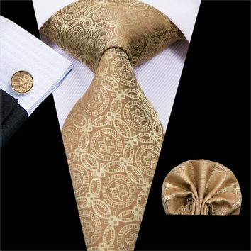 New Fashion Style Mens Tie Set Bright Gold Jacquard Woven Novelty Pattern Neckties For Men Gravatas For Business Party