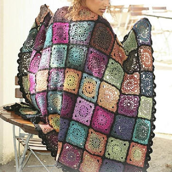 Patchwork style Rainbow blanket Crochet blanket Fall autumn throw knitted blanket square Afghan crochet rug blanket wool Drops Lilith