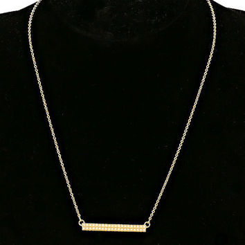 Tiny Gold Cream Pearl Bar Pendant Necklace & Earring Set