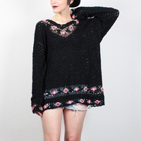 Vintage 90s Sweater Black Crochet Sweater Open Weave Knit Pink Rose Floral Jumper 1990s Sweater Soft Grunge Oversized Sweater Extra Large XL
