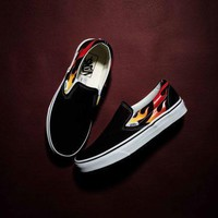 Thrasher x Vans Flame Slip-On Low Top Men Flats Shoes Canvas Sneakers Women Sport Shoes-1