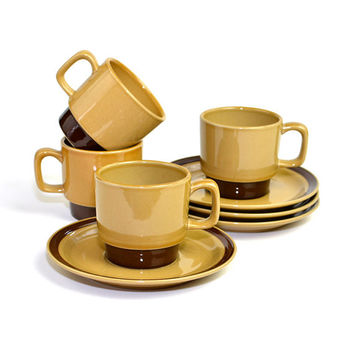 Rustic Coffee Cup and Saucer Set by La Mesa Stoneware, Japan - 8 PIECES (4 SETS) Included - Stacking Mugs, Retro Brown - Vintage Kitchen