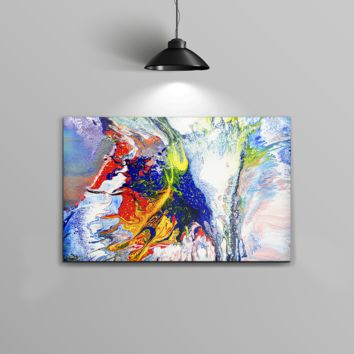 The Bright White and Primary Color Paint Explosion Home Decor Stretched Wall Canvas