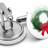 Christmas Wreath Snow Cufflinks