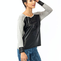 Take-Five-Sequined-Faux-Leather-Tee HGREYBLACK - GoJane.com