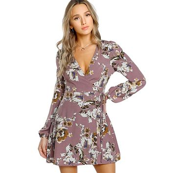 Wrap Floral Dress Multicolor A Line Womens Dresses Style Deep V Neck Long Sleeve Dress