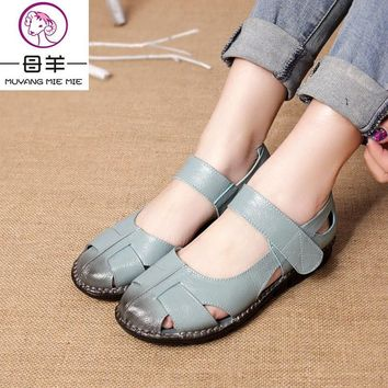 Big Size Summer Women Genuine Leather Sandals Vintage Ladies Flat Sandials Ankle Strap