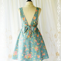 A Party V Charming Dress Floral Backless Dress Dusty Blue Party Dress Floral Spring Summer Sundress Floral Wedding Bridesmaid Dresses XS-XL